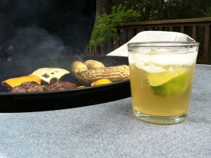 Burgers and corn on the cob on the grill. And an iced cold Lily Rei to go with it all.