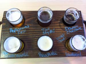 Notice Hopasaurus Rex in the upper left. And the missing seventh sample was was a chocolate stout my wife drank.