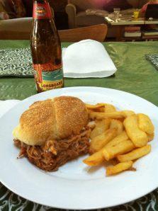 Pulled pork sandwich. Steak fries. Kona Longboard Lager. Thank me.