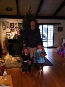 Day 1: No ornaments, but Daddy's got a beer in hand. Of course he does.