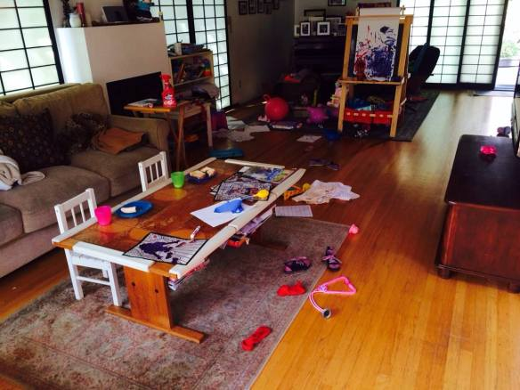 How our living room looks after a typical evening of kid craziness.