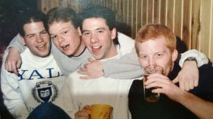 """Exhibit A: From left, Mike McDonald, Phil Jackson, myself, Brian Nelson. Or, what I like to call, """"The Worst And Drunkest Boy Band Of 1989"""""""