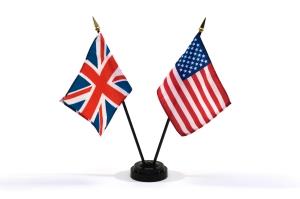 United Kingdom and USA miniature flags
