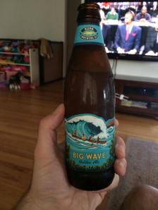 Kona Big Wave Golden Ale, in the bottle, at home.