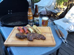 Ripstop Rye Pils, Seat Kicker IPA, a couple of steaks, a pair of lobster tails and some grilled corn on the cob. America? Damn right, AMERICA!