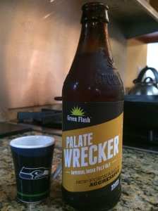 """Green Flash Palate Wrecker IPA, along with me Seahawks shot """"mug"""". Helps with the pain of the Super Bowl loss."""