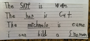 """Some of Maddo's more """"inventive"""" ways of spelling."""