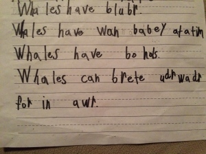 The latest in writing wonders from my daughter