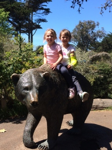 My daughters, on the back of a bear. And they still wanted to see the prairie dogs more than anything else.