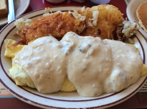 The Chicken Fried Steak Omelette. Oh, and there is bacon inside of that thing, too. Thank me.
