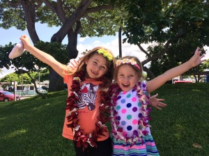 My daughters upon arrival on the Big Island. Next stop, the hotel pool.