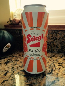 Stiegl Radler in the can. Note: Acorn squash not included.